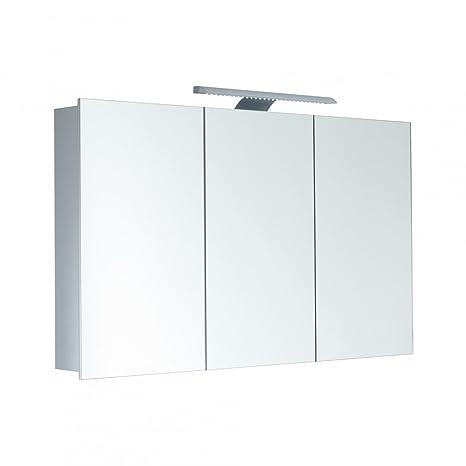 Armadietto a specchio galdem high100/3d Mobile Bagno 100cm/3porte/con Led–Illuminazione/certificazione TÜV/presa, adatto anche come specchio corridoio/Armadietto a specchio, corpo in alluminio