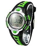 Flash Lights 50m Waterproof Chronograph Digital Boys Girls Sports Watch Alarm - Green
