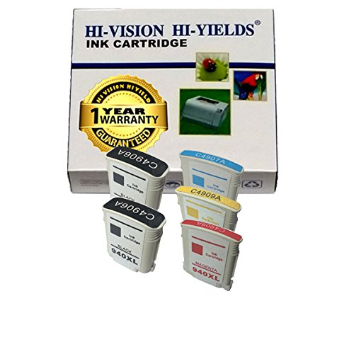 Hi-Vision Hi-Yields ® Remanufactured Ink Cartridge Replacement For Hewlett-Packard (Hp) 940Xl (1 Black, 1 Cyan, 1 Yellow, 1 Magenta, 4-Pack) For Hp Officejet Pro 8000 Wireless Printer - A809N, Hp Officejet Pro 8500 Wireless All-In-One Printer - A909G, Hp