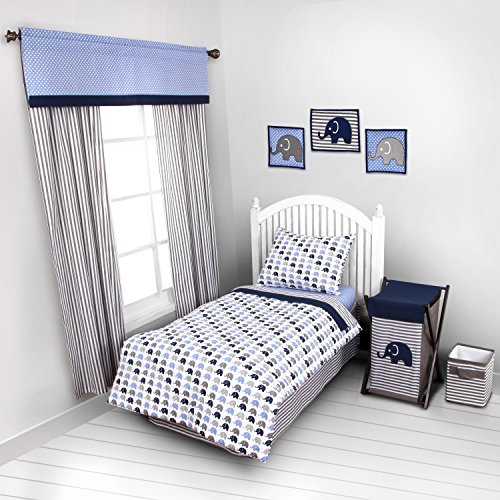 Elephants Blue/Grey 4 pc Toddler Bedding Set