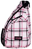 Pink Plaid Cross Body Sling Messenger Backpack / Outdoor Daypack Bag
