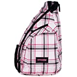 Pink Plaid Cross Body Sling Messenger Backpack / Outdoor Daypack Bag ~ MyGift