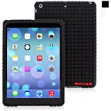 Snugg iPad Air Silicone Case - Protective, Non-Slip Silicone Case With Lifetime Guarantee (Black) For Apple iPad Air