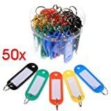 50 Pcs Assorted Color Plastic Key ID Label Tags Split Ring Keyring