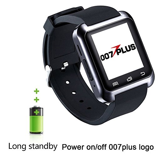 007plus U80 U8 Bluetooth 4.0 Fitness Smart Watch Phone for Smartphone Android Samsung S2 S3 S4 S5 S6 Note 3 Note 4 Note 5 HTC Part Function for iPhone-U80 BLACK