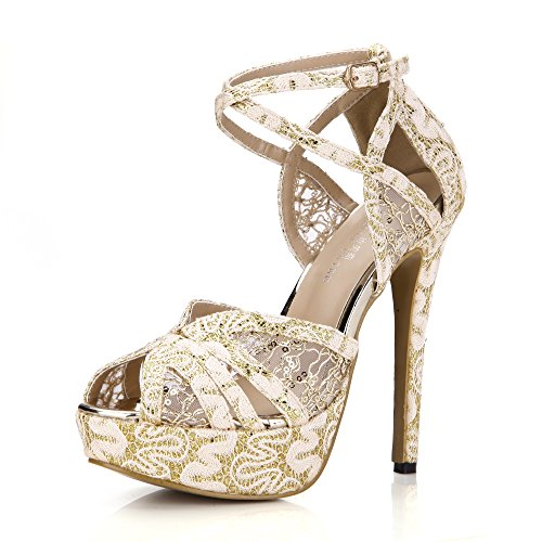 Dolphin Girl Women Golden Platform Open Toe Sandal Dress Pump Summer Shoes Pub Club Sexy School Party Work Wedding Bridal Evening Party Dress Court Shoes Casual Sandal Shoes Ankle Buckle Strap Strappy Heeled Thin Heels Elegant Classic Synthetic Faux Manmade Strap Buckle Ankle Strap Strappy Slightly Padded Steady Step SM00228