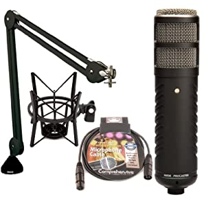 Rode Procaster - Large Capsule Broadcast Quality Dynamic Microphone with Rode PSA 1 Swivel Mount Studio Microphone Boom Arm and Rode PSM 1 Shockmount For Podcaster
