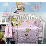 SoHoTwin froggie Tales Baby Crib Nursery Bedding Set 13 pcs included Diaper Bag with Changing Pad & Bottle Case ~ SoHo Designs