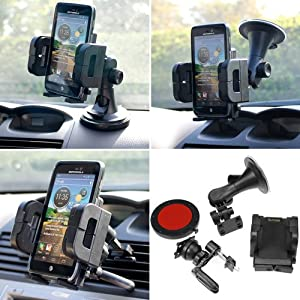 iKross 3in1 Car Vehicle Windshield / Dashboard / Air Vent Mount Holder for Samsung Galaxy S5 / SV / S4 / S IV / Galaxy Note Edge 4 3 III / Galaxy Mega Android Smartphone