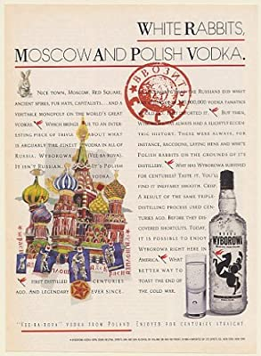 1990 Wyborowa White Rabbits Moscow and Polish Vodka Print Ad (Memorabilia) (56283)