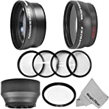 52MM Accessory Kit for NIKON DSLR Cameras including D5100 D5000 D3200 D3000 D90 D80 - Includes: 2.2X Telephoto and 0.43X Wide Angle High Definition Lenses + Star Filter + Macro Close-Up Set + Rubber Collapsible Lens Hood + Premium MagicFiber Microfiber Le
