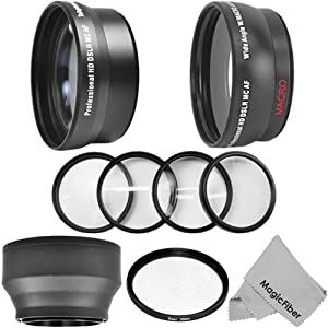 52MM Accessory Kit for NIKON DSLR Cameras including D5200 D5100 D5000 D3200 D3100 D3000 - Includes: 2.2X Telephoto and 0.43X Wide Angle High Definition Lenses + Star Filter + Macro Close-Up Set + Rubber Collapsible Lens Hood + Premium MagicFiber Microfiber Lens Cleaning Cloth