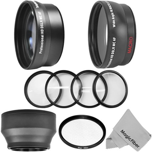 52Mm Accessory Kit For Nikon Dslr Cameras Including D5200 D5100 D5000 D3200 D3100 D3000 - Includes: 2.2X Telephoto And 0.43X Wide Angle High Definition Lenses + Star Filter + Macro Close-Up Set + Rubber Collapsible Lens Hood + Premium Magicfiber Microfibe