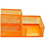eYourlife2012 Office Desk Steel Mesh Collection Pencil Cup Pen Holder Organizer (Style 2 Orange)