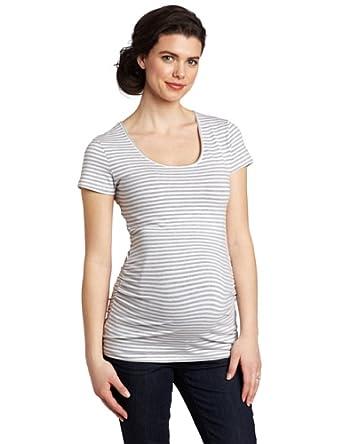 Ripe Maternity Women's Maternity Striped Tube Shirt, Silver/White, X-Small