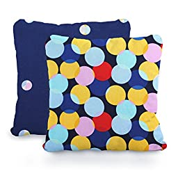 Dark Blue, Aqua, Yellow, Red and White Clown Dots and Polka Dots, Designer Cotton Nursery and Toddler Pillowcase Set of 2, 16x16