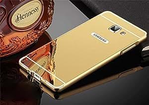 AE (TM) SAMSUNG GALAXY J7 PRIME Luxury Metal Bumper + Acrylic Mirror Back Cover Case For SAMSUNG GALAXY J7 PRIME - GOLD