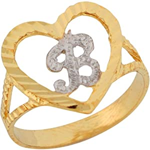 B Letter In Gold Ring 14ct Two Colour Gold 1 51cm