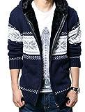 (ベクー)Bekoo メンズ ジップ ニット カーディガン パーカー フード 付き カウチン セーター (04 藍花 XXL)