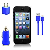 Kit for iPhone 5 5c, 5s, 8-pin Sync Cable, Wall Charger, Car Charger IOS 7 LOT (Dark Blue)