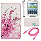Llamamia Flower Floral PU Leather Folio Stand Wallet Case Cover Protector for Samsung Galaxy S3 S III Mini i8190 + Stylus + Screen Protector + 3 Ft Cable + Cleaning Cloth in Retail Packaging - ONLY Compatible with Galaxy S3 III Mini i8190