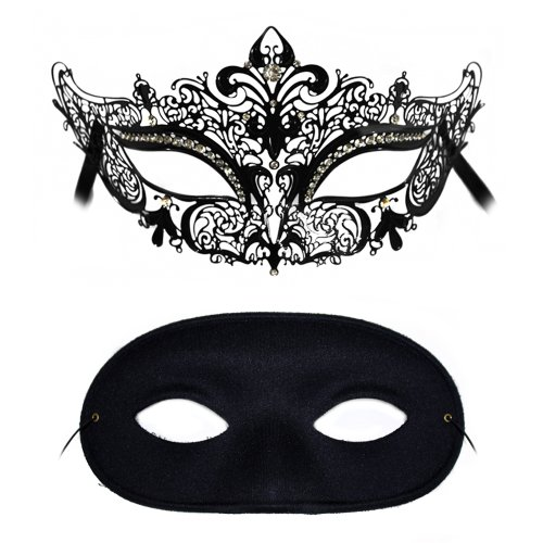 Simone-Domino Laser Cut and Classic Masquerade Masks for a Couple