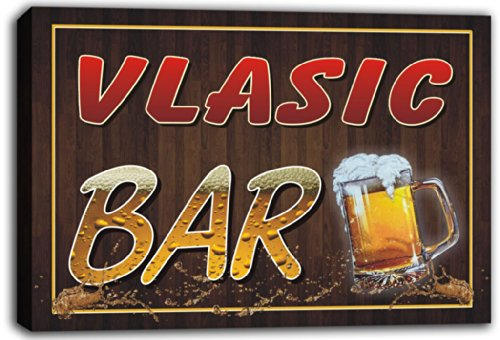 scw3-058251-vlasic-name-home-bar-pub-beer-mugs-stretched-canvas-print-sign