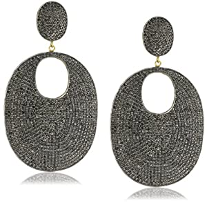 "Shery Shabani ""Red Carpet"" Black Diamond Oval Earrings"