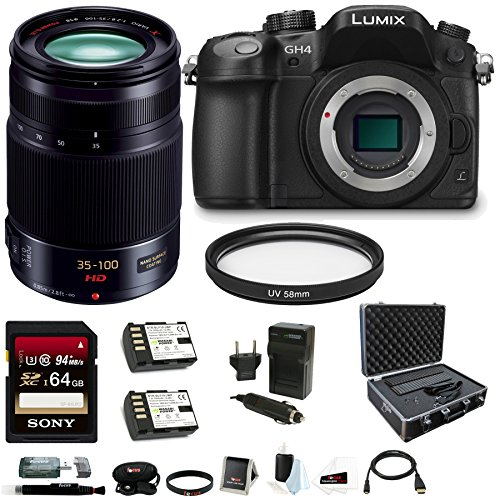 Panasonic LUMIX DMC-GH4K DMC-GH4KBODY GH4 16.05MP Digital Single Lens Mirrorless Camera + Panasonic H-HS35100 35-100mm Lens + Sony 64GB SDXC Class 10 Memory Card + Card Reader + Replacement Battery and Charger + Hard Case + Deluxe Accessory Bundle (Panasonic Sdxc 64gb compare prices)