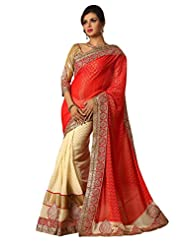 Fancy Evoking Cream Colored Embroidered Viscose Georgette Saree By Triveni