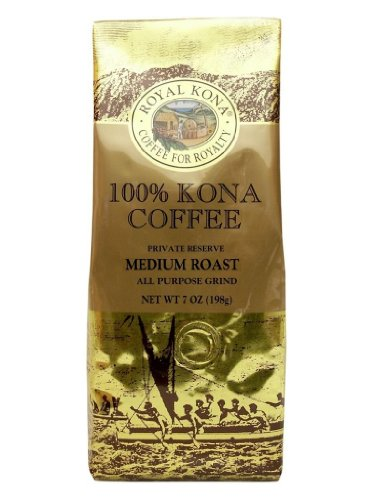 Hawaii Royal Kona Coffee 7 Oz. Ground 100% Pure Kona Medium