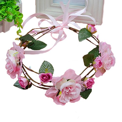Vivivalue Floral Garland Flower Wreath Headband Crown Hade-made with Ribbon Boho for Festival Wedding Pink