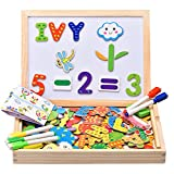 Innocheer Wooden Magnetic Puzzle, Letters/Numbers/Shape 110 Pieces with 5 Colored Dry Erase Markers Set - Learning & Educational Game Toy for Kids