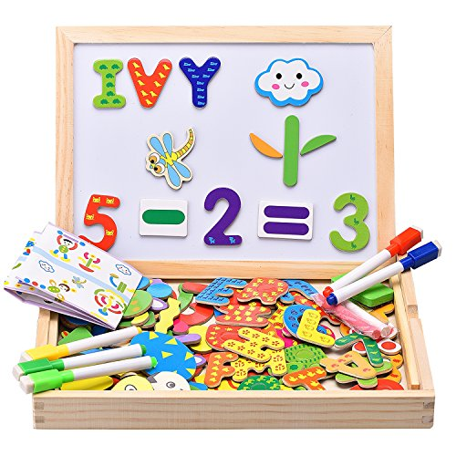 Innocheer Wooden Magnetic Puzzle, Letters/Numbers/Shape 110 Pieces with 5 Colored Dry Erase Markers Set - Learning & Educational Game Toy for Kids (Numbers Dry Erase compare prices)