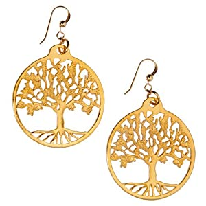 Tree of Life Gold-dipped Earrings on French Hooks