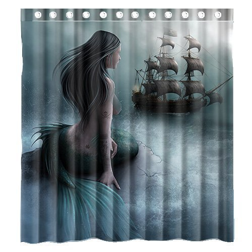 Mermaid and Ship Shower Curtain