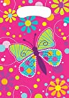 Creative Converting Butterfly Sparkle Plastic Loot Bags 8 Count