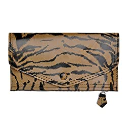 ZLYC Women Fashion Envelope Tiger Stripes Print Leather Wallet Card Holder Clutch, Brown