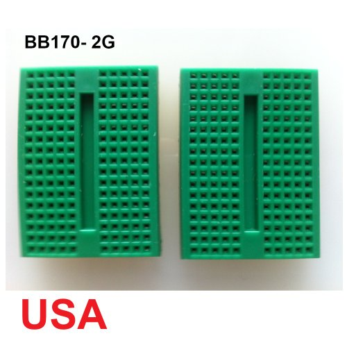 UDIYKITS. 2pcs GREEN MINI BB170 TIE POINTS SOLDERLESS BREADBOARD FOR ARDUINO
