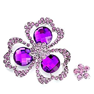 Pugster Lovely February Birthstone Amethyst Crystal Triple Petal Clover Flower Set Brooches And Pins