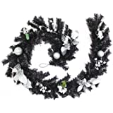 WeRChristmas 6 ft Decorated Garland Christmas Decoration, Black/ Silver