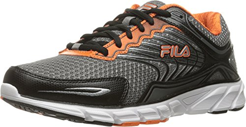 Fila Men's Memory Maranello 4 Running Shoe, Dark Silver/Black/Vibrant Orange, 10.5 M US