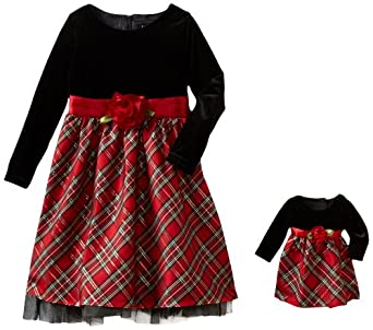 Dollie & Me Girls Plaid Special Occasion Dress, Red/Black, 7