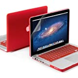 "GMYLE(R) 3 in 1 Red Matte Rubber Coated See-Thru Hard Case Cover for Aluminum Unibody 13.3"" inches Macbook Pro - with Red Silicon Keyboard Protector - 13 inches Clear LCD Screen Protector"
