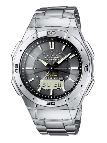 Casio WVA-470DE-1AVEF Radio Controlled Analog and Digital Quartz Multifunction Watch with Chronograph, Time Zones, 3 Alarms, Solar Power and Steel Bracelet
