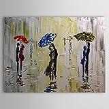 XM handgemaltes Ölgemälde Menschen regen Fußgänger Umarmung in der regen mit gestreckten Rahmen 1307-pe0277