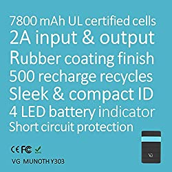 NEW VG Munoth Y303 7800 mAh Power Bank, 2A input, 2.1A output - Black blue with CE, FCC, ROHS certification and UL certified cells