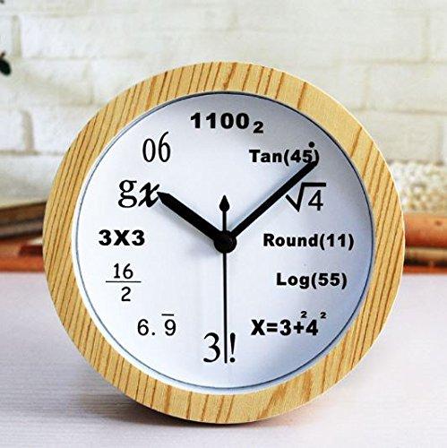 理系専用 数学 テーブルクロック ウッドホワイト