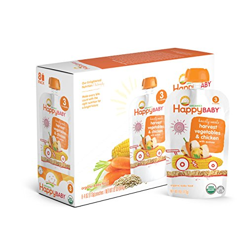 Happy Baby Organic Stage 3 Baby Food, Hearty Meals, Harvest Vegetables & Chicken with Quinoa, 4 oz (Pack of 16) (Baby Food Vegetable Pouches compare prices)