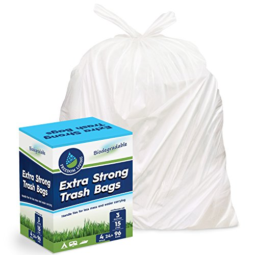 Freedom Living Biodegradable Heavy Duty White Trash Bags (3 Gallon, 96 Count Box) with Handle Ties for Kitchen, Yard, Lawn, Contractor, Janitorial or Office (13 Gallon Wastebasket Liners compare prices)
